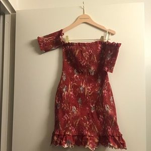 Zimmermann red floral off the shoulder dress SZ 1